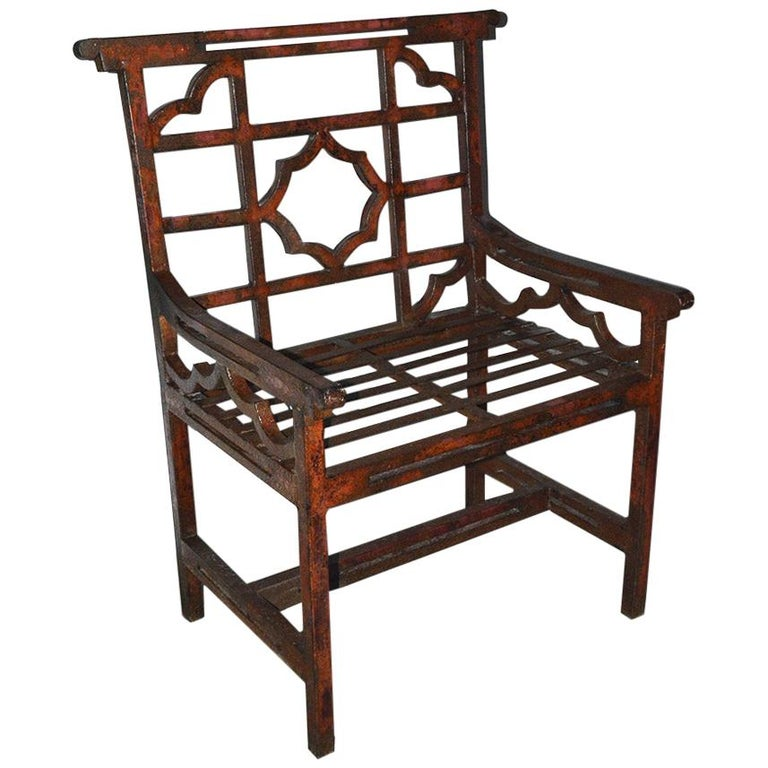 Antique Red Chinese Chippendale Style Iron Garden/Patio Chair For Sale
