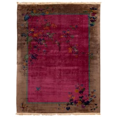 Antique Red Chinese Handmade Wool Rug