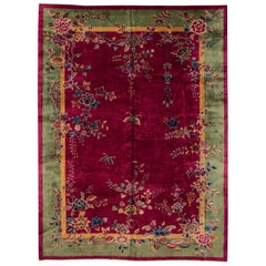 Antique Red Chinese Wool Rug