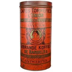 Antique Red Coffee Tin from Antwerp, Belgium