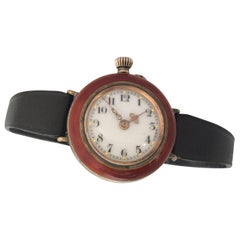 Antique Red Enamel and Silver Ladies Trench Watch