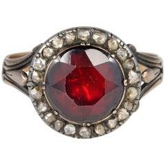 Antique Red Garnet Diamond Ring