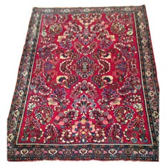 Antique Red Gold Floral Persian Sarouk Small Area Rug, circa 1920s
