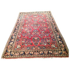 Antique Red Gold Floral Persian Sarouk Small Area Rug, circa 1930s