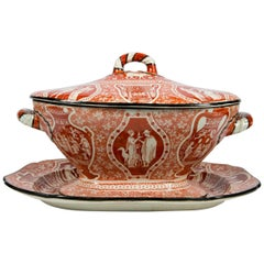 Antique Red Greek Ware Soup Tureen Decorated with Classical Figures