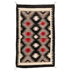 Antique Red Grey Black Geometric Native American Navajo Tribal Rug, circa 1930s