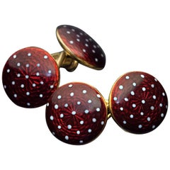 Antique Red Guilloche Enamel 18 Karat Gold Double Cufflinks
