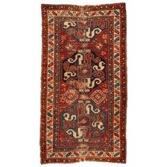 Antique Red Ivory Blue Distressed Tribal Caucasian Cloudband Kazak Rug