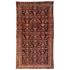 Antique Red Ivory Navy Blue Tribal Persian Hamedan Area Rug, circa 1900-1910