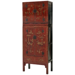 Antique Red Lacquer Gilt Painted Chinese Compound Cabinet, Scholastic Art