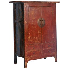 Antique Red Lacquered Cabinet Armoire from Shanxi, China