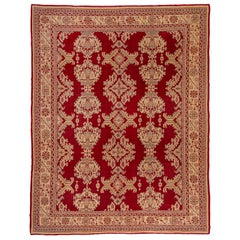 Antique Red Oushak Rug, Gold Borders, All-Over Field with Leaf Pattern