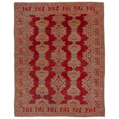 Antique Red Oushak Rug with Orange & Blue Borders, Circa 1920s