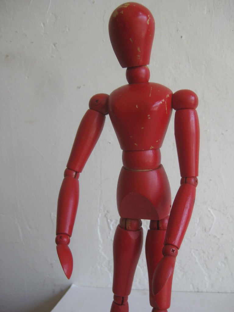 Antique Red Painted Articulated Wood Nude Artist Figural Model Sculpture Statue For Sale 2