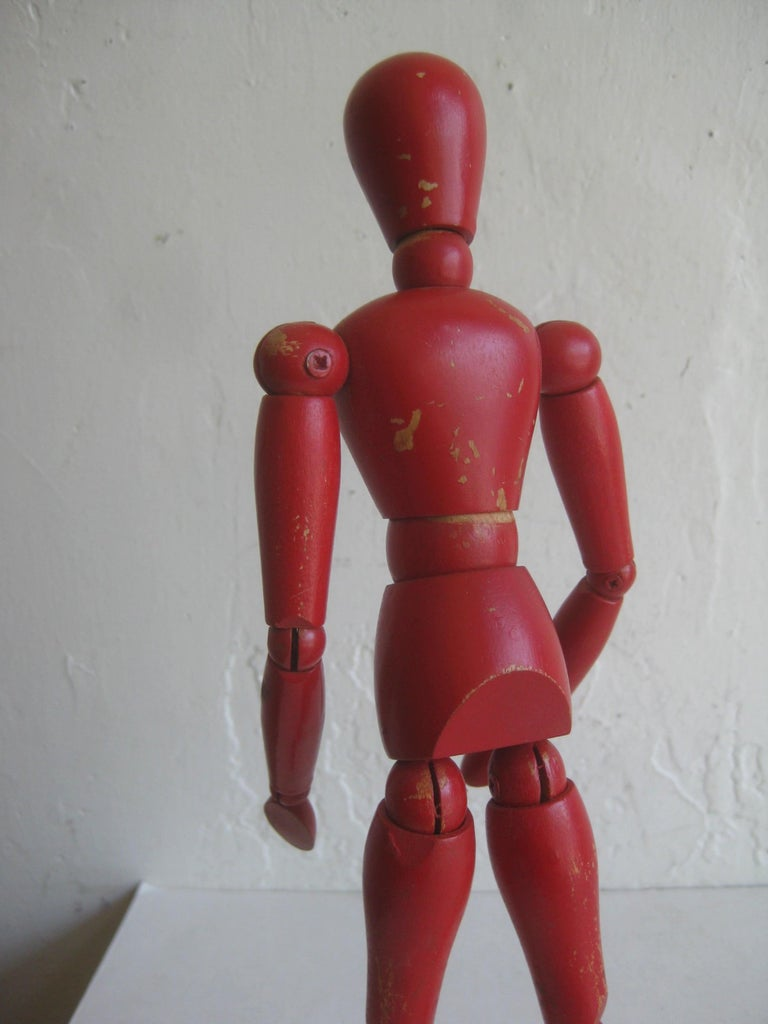 Antique Red Painted Articulated Wood Nude Artist Figural Model Sculpture Statue For Sale 5