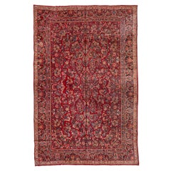 Antique Red Persian Sarouk Rug, All-Over Field, Silky Pile