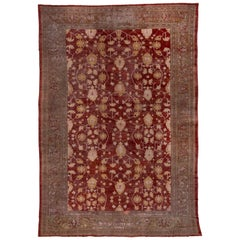 Antique Red Persian Sultanabad Mansion Carpet, circa 1910s