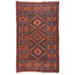 Antique Red Rust Blue Geometric Tribal Caucasian Soumak Rug