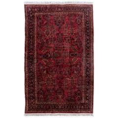 Antique Red Sarouk Farahan Persian Oversize Wool Rug