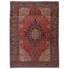 "Antique Red Sarouk Farahan Persian Room Size Wool Rug. 8'9""x12'"