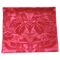 Antique Red Silk Damask Textile Panel
