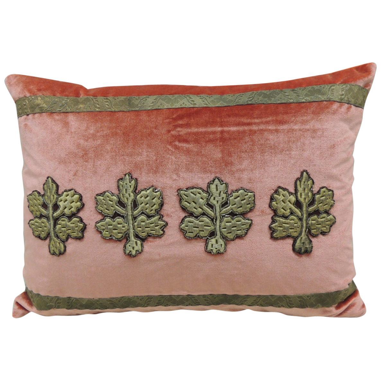 Antique Orange Silk Velvet Applique Bolster Decorative Pillow