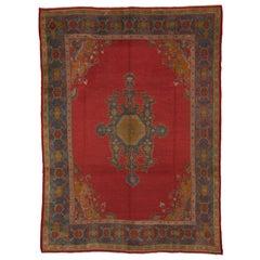 Antique Red Turkish Oushak Carpet
