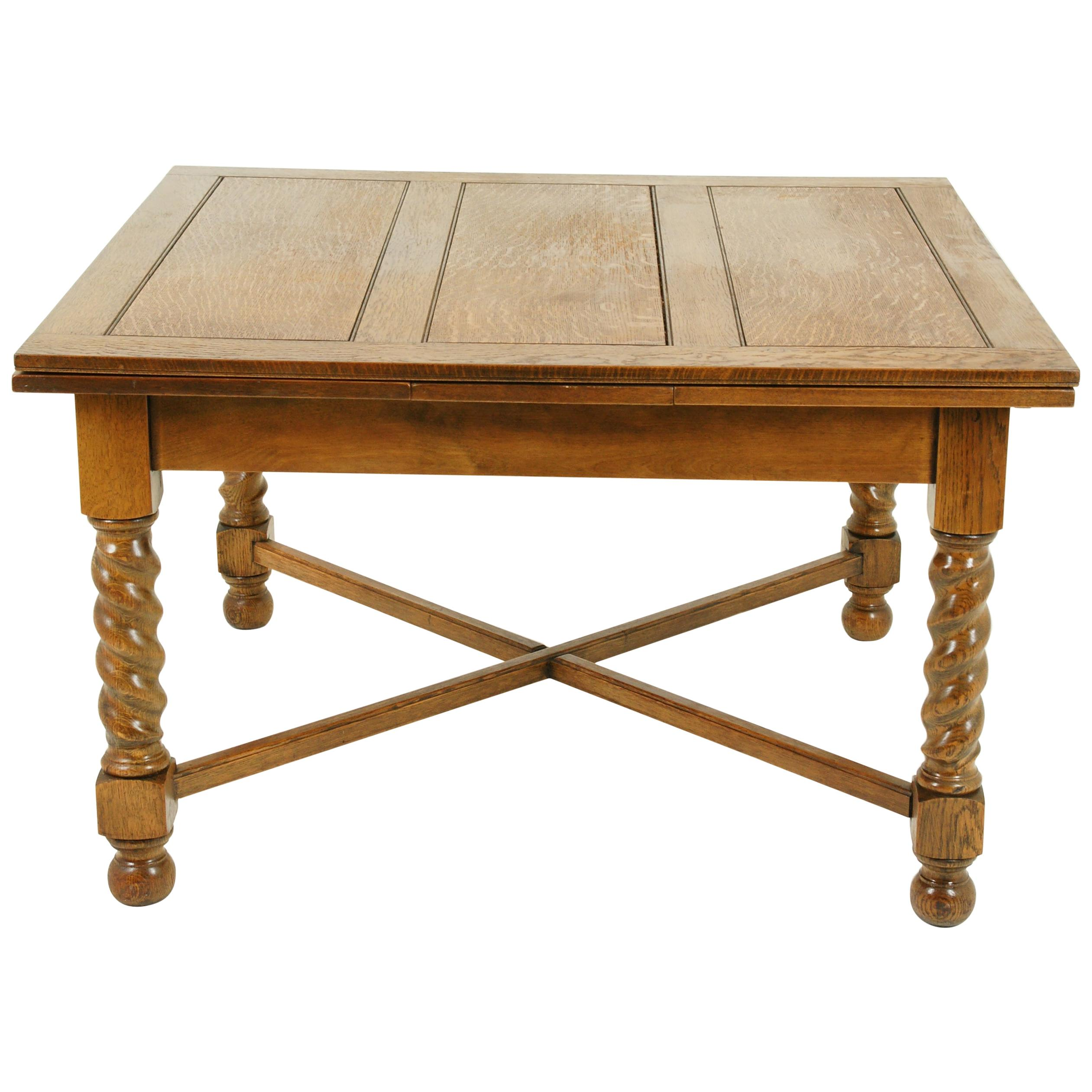 Antique Refectory Table, Antique Dining Table, Draw Leaf Table, 1920