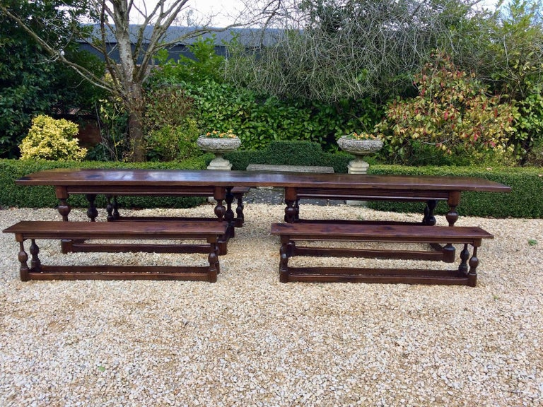 Antique Refectory Table Dining And Four Benches Oak Huge Very Large - Huge picnic table