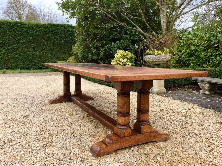 Antique Refectory Table Dining And Ten Chairs Oak Huge Th Century - Huge picnic table