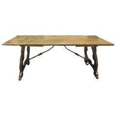 Antique Refectory Table in Walnut and Oak, Single Plank, 18th Century Spain