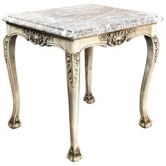 Antique Regence Marble Top Stripped Walnut Occasional Table