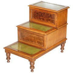 Antique Regency 1810 Mahogany & Leather Library Steps Internal Storage & Drawers