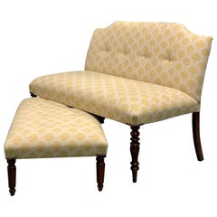 Antique Regency 2-Seat Occasional Sofa with Matching Stow under Footstool