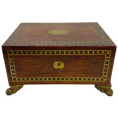 Antique Regency Box in Rosewood with Inlaid Ebony and Brass, English, circa 1820