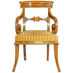 Antique Regency Brass Inlaid Open Armchair, circa 1810