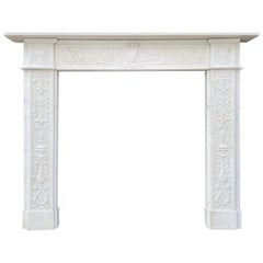 Antique Regency Carved Statuary White Marble Fireplace Mantel