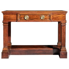 Antique Regency Console Writing Table on Column Legs, Irish, Early 19th Century