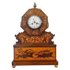 Antique Regency Inlaid Marquetry Mantel Clock