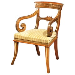 Antique Regency Klismos Armchair or Desk Chair, Attributed to George Oakley