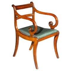 Antique Regency Klismos Desk Armchair in Mahogany, Covered in Horsehair Textile
