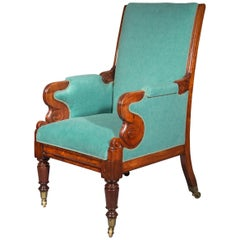 Antique Regency Armchair in Turquoise Cotton, 19th Century