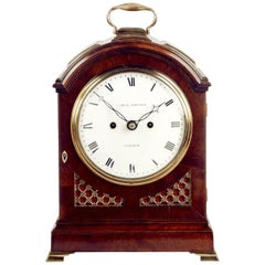 Antique Regency Mahogany Arched-Top Bracket Clock by Cade & Robinson, London