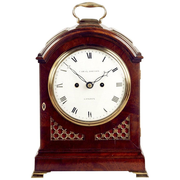 Antique Regency Mahogany Arched-Top Bracket Clock by Cade & Robinson of London