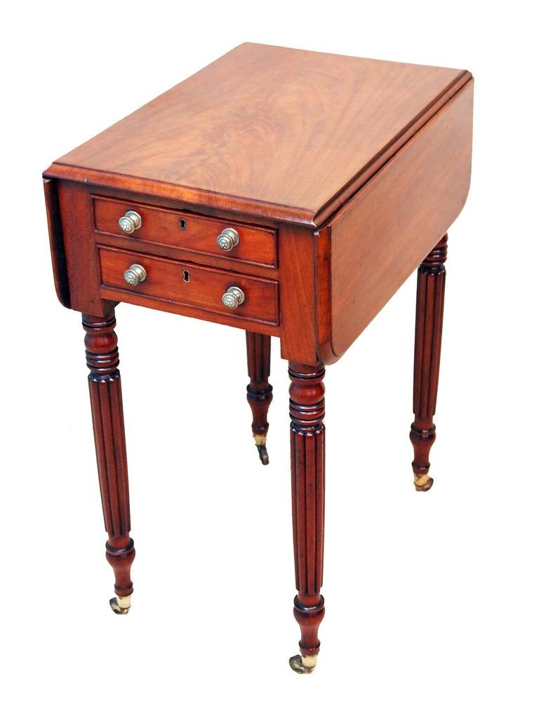 English Antique Regency Mahogany Baby Pembroke Table For Sale