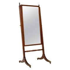 Antique Regency Mahogany Cheval Mirror