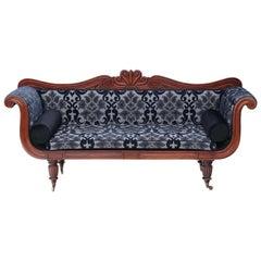Antique Regency Mahogany Scroll Arm Sofa