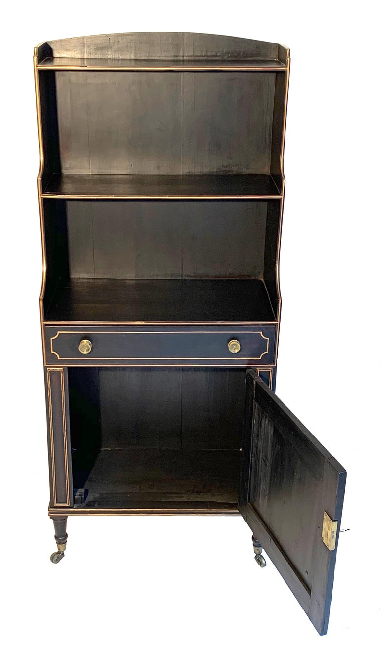 Ebonized Antique Regency Open Bookcase Cabinet Beechwood, England, 1815 For Sale