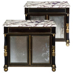 Antique Regency Pair of Side Cabinets in Black Lacquer with Marble Tops