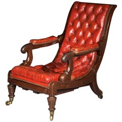 Antique Regency Reclining Armchair in Old Red Leather